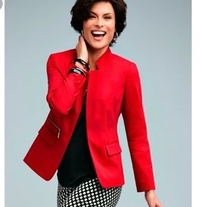 Chico's red blazer with faux gold zipper pocket